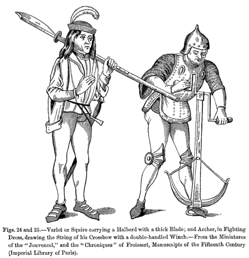 Spanish surnames 512px-Varlet_or_Squire_carrying_a_Halberd_with_a_thick_Blade_and_Archer_in_Fighting_Dress_drawing_the_String_of_his_Crossbow_with_a_double_handled_Winch